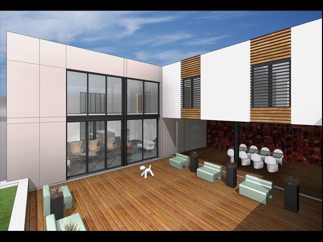 projet de maison d 39 architecture contemporaine et piscine marseille f v architectes cabinet d. Black Bedroom Furniture Sets. Home Design Ideas