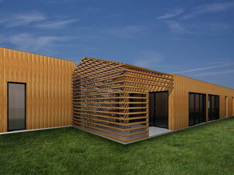 Salon Contemporain Gris Et Bois : architecture contemporaine dune maison à ossature et bardage bois